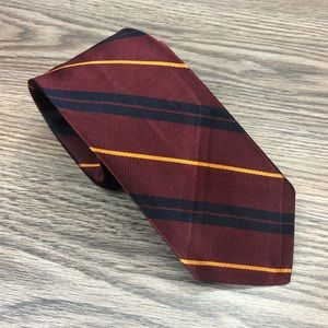 Robert Talbott Red w/ Navy & Gold Stripe Tie